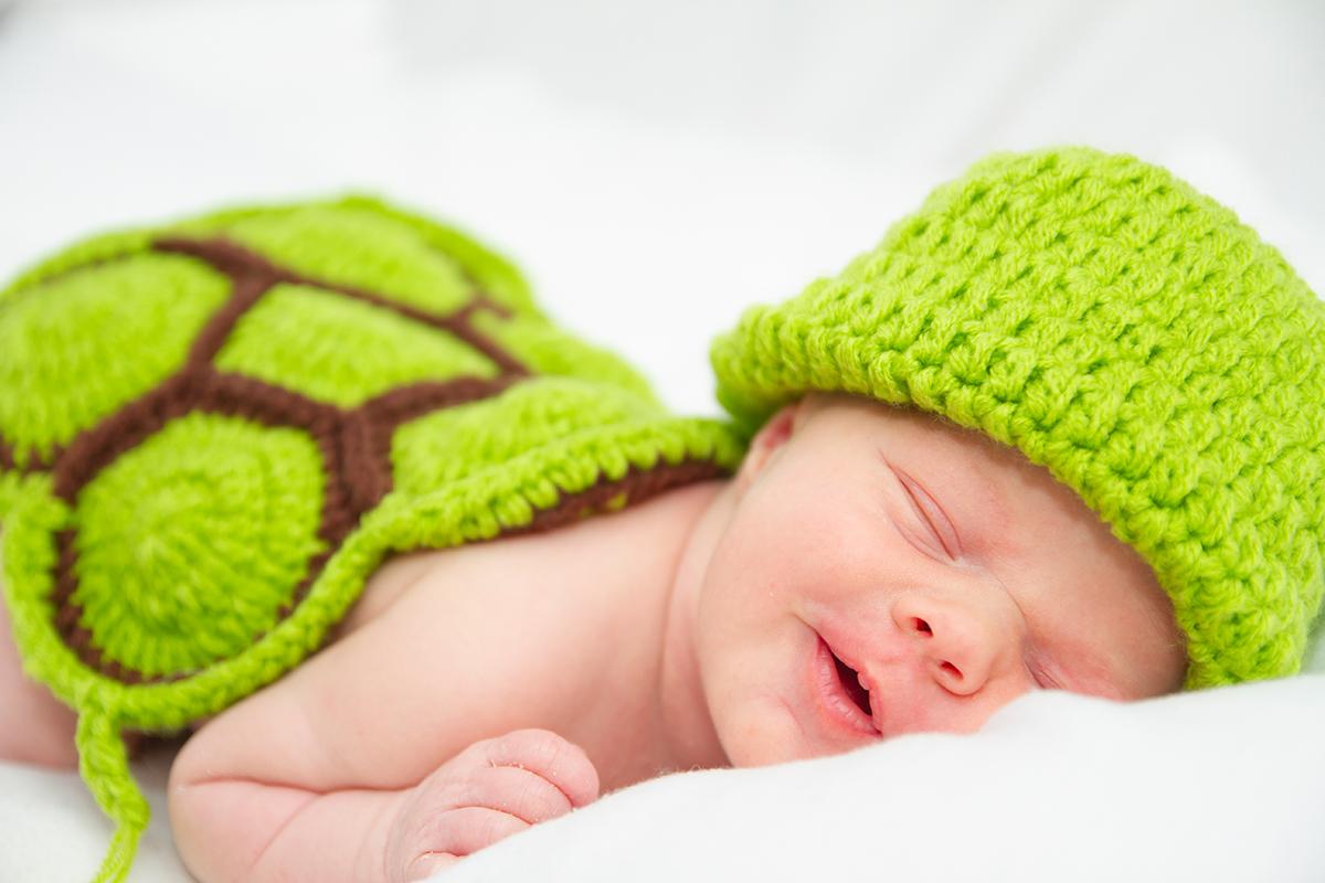 Babyfoto als Schildkröte aus einem Homeshooting in Leipzig