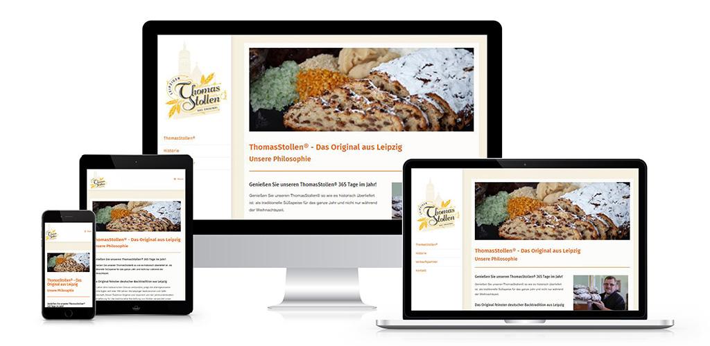 Webdesign für ThomasStollen® aus Leipzig